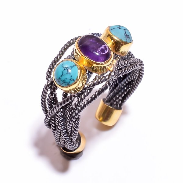 925 Sterling Silver Gold Plated & Black Rhodium Two Tone Amethyst Turquoise Ring Size 6 Adjustable