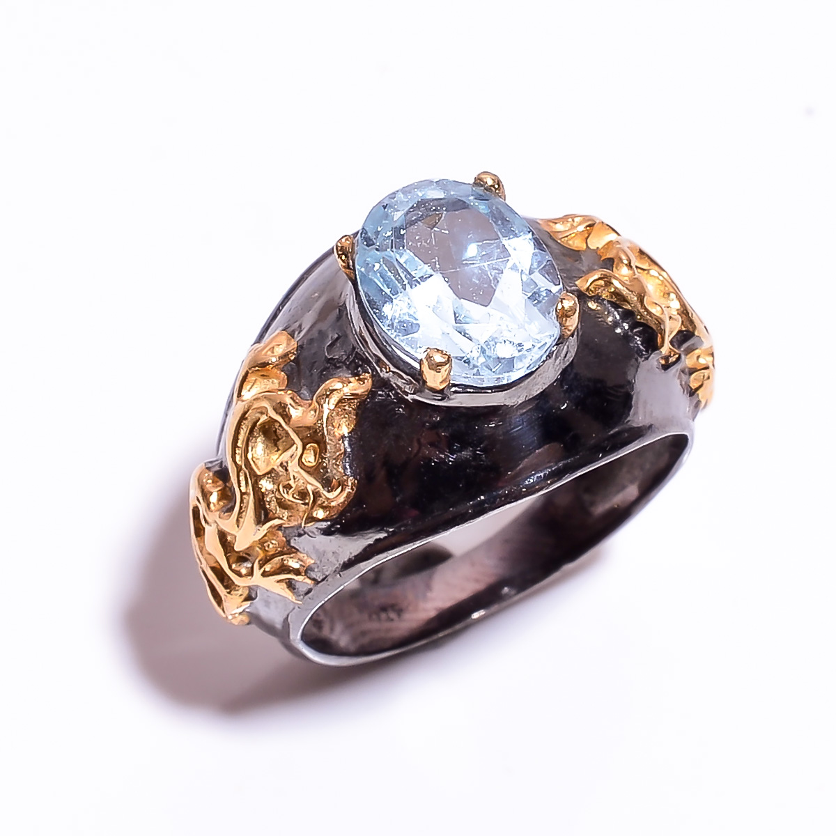 925 Sterling Silver Gold Plated & Black Rhodium Two Tone Blue Topaz Ring Size 6