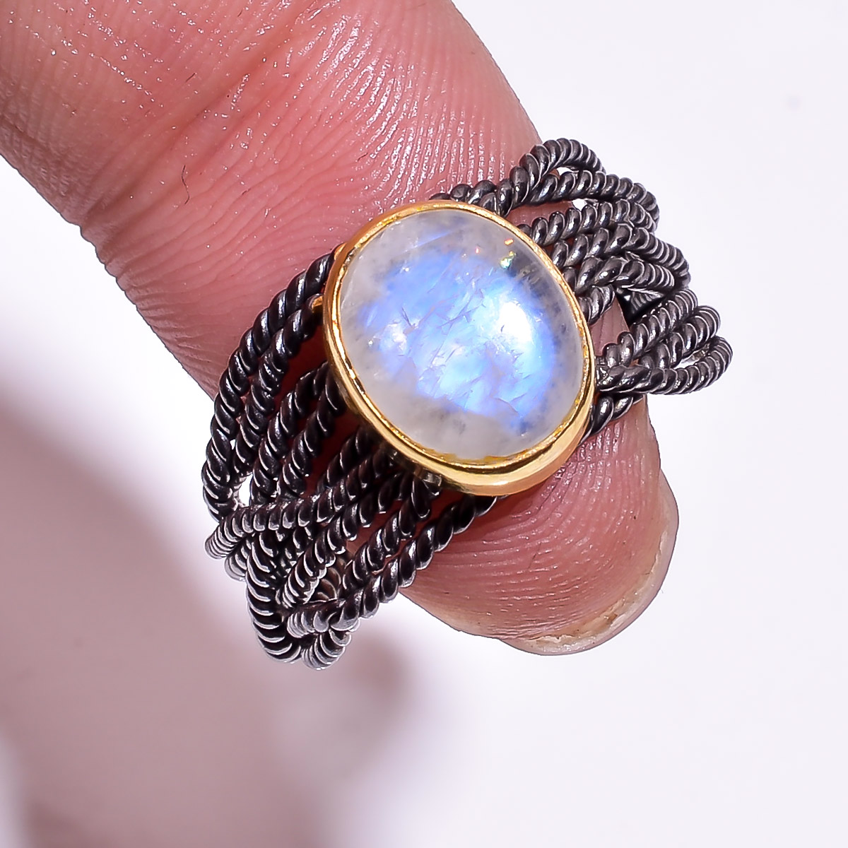 925 Sterling Silver Gold Plated & Black Rhodium Two Tone Rainbow Moonstone Adjustable Ring Size 8.5