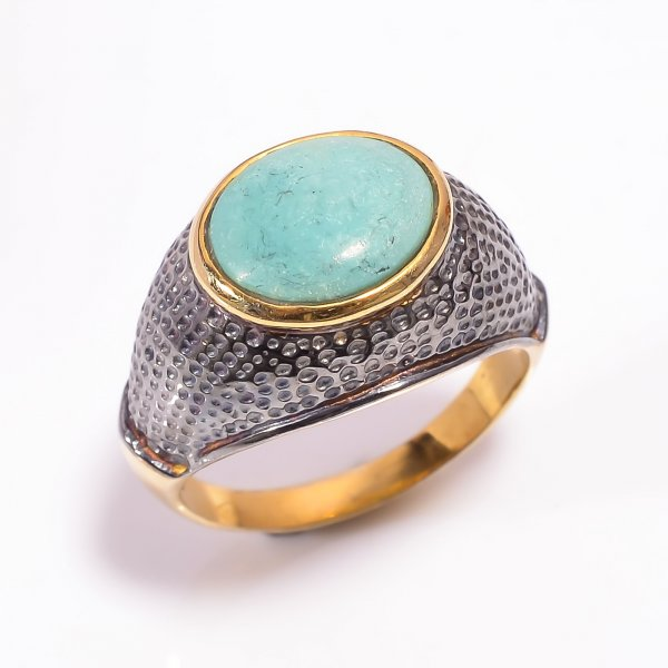 925 Sterling Silver Gold Plated & Black Rhodium Two Tone Turquoise Ring Size US 9