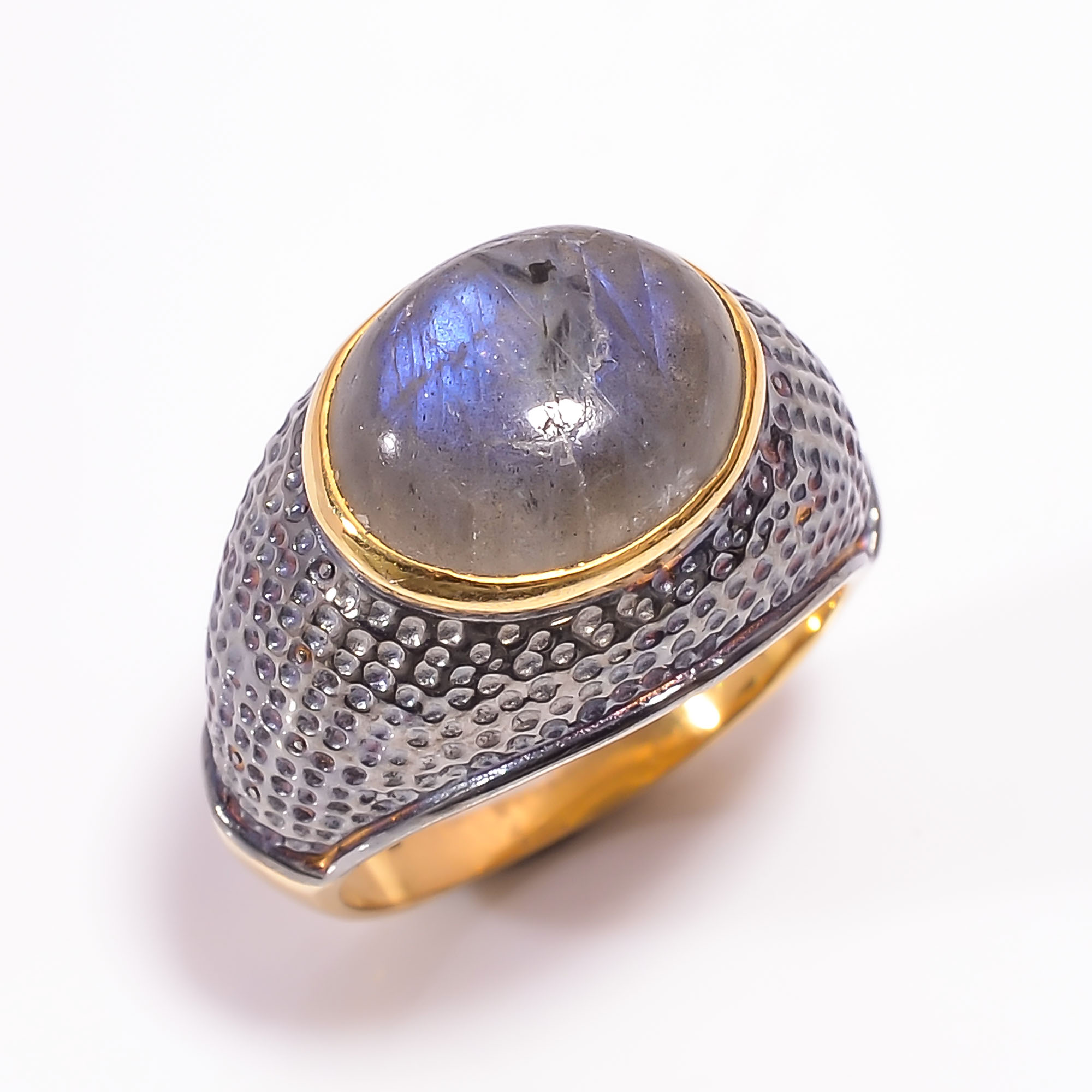 925 Sterling Silver Gold Plated & Black Rhodium Two Tone Labradorite Ring Size US 7
