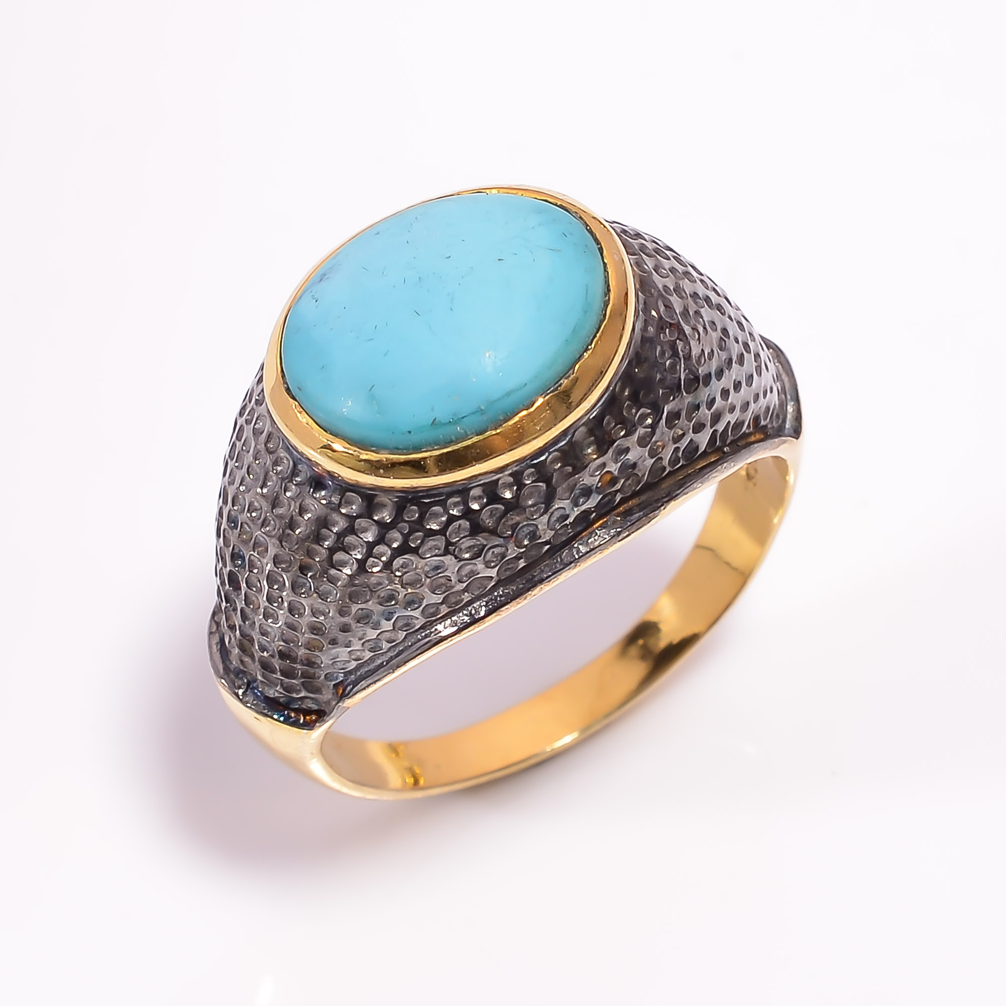 925 Sterling Silver Gold Plated & Black Rhodium Two Tone Turquoise Ring Size US 9.25