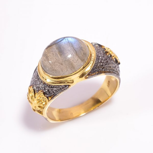925 Sterling Silver Gold Plated & Black Rhodium Two Tone Labradorite Ring Size US 7.75