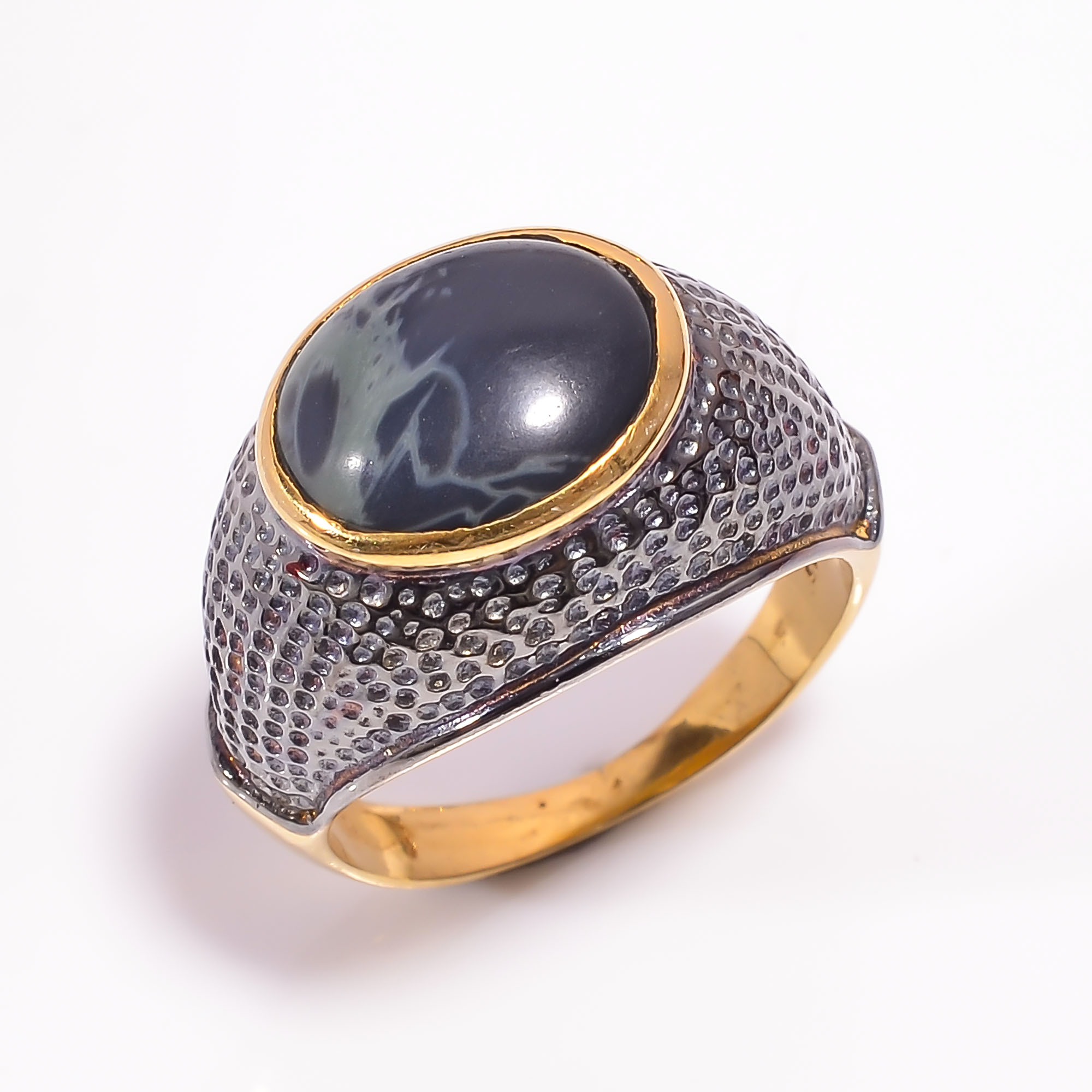 925 Sterling Silver Gold Plated & Black Rhodium Two Tone Spider Web Jasper Ring Size US 8