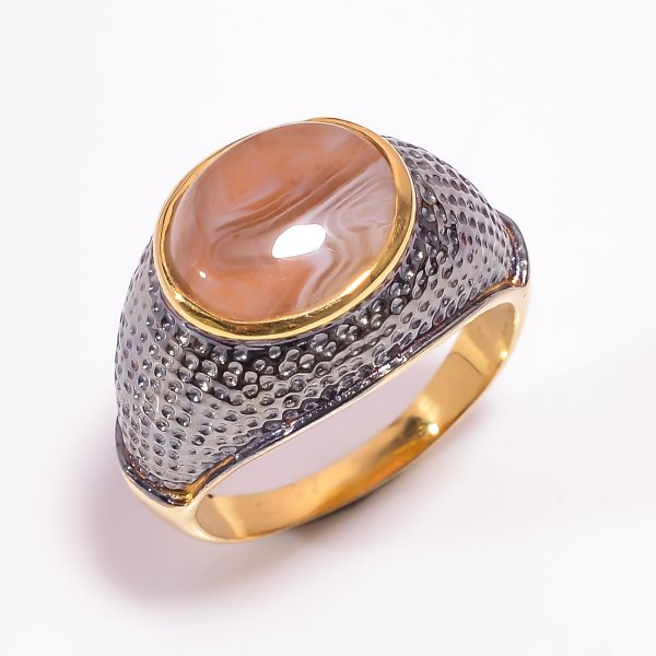 925 Sterling Silver Gold Plated & Black Rhodium Two Tone Botswana Agate Ring Size US 9.25