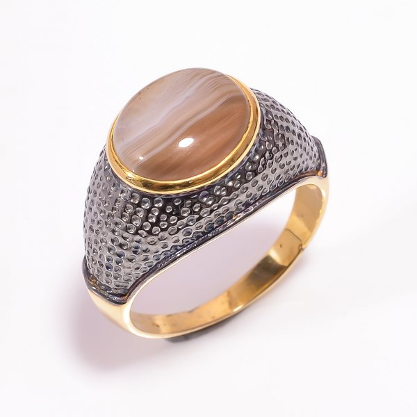925 Sterling Silver Gold Plated & Black Rhodium Two Tone Botswana Agate Ring Size US 10
