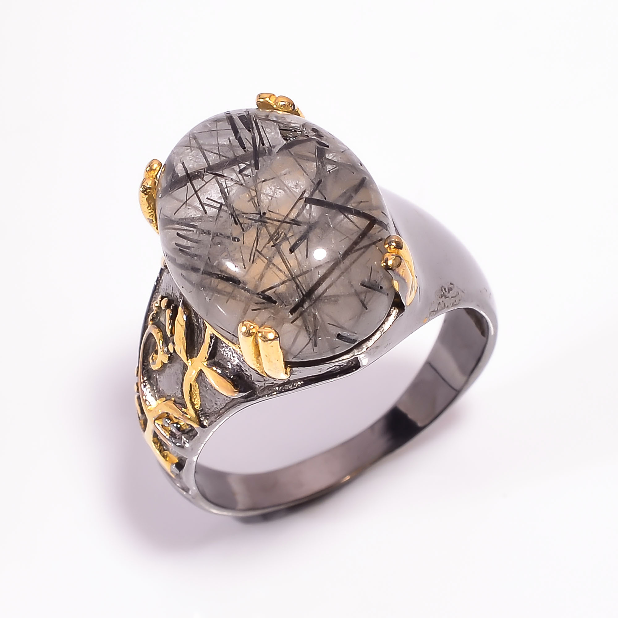 925 Sterling Silver Gold Plated & Black Rhodium Two Tone Rutile Ring Size US 9
