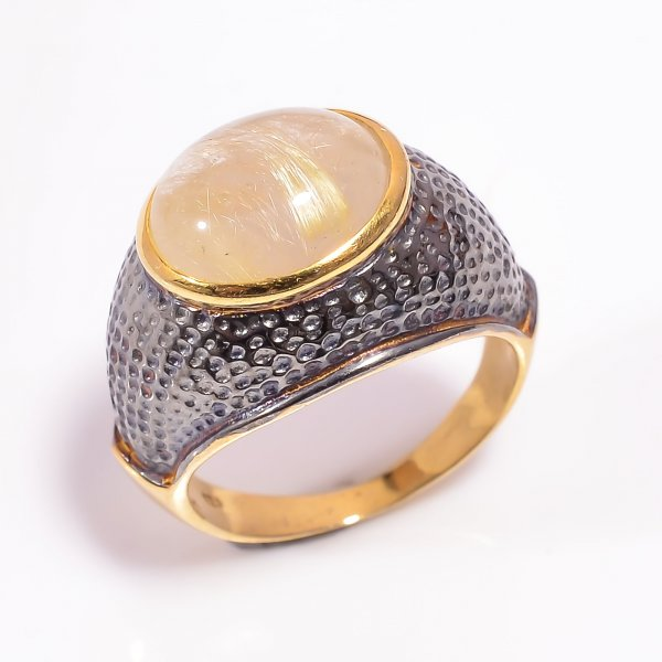 925 Sterling Silver Gold Plated & Black Rhodium Two Tone Golden Rutile Ring Size US 7