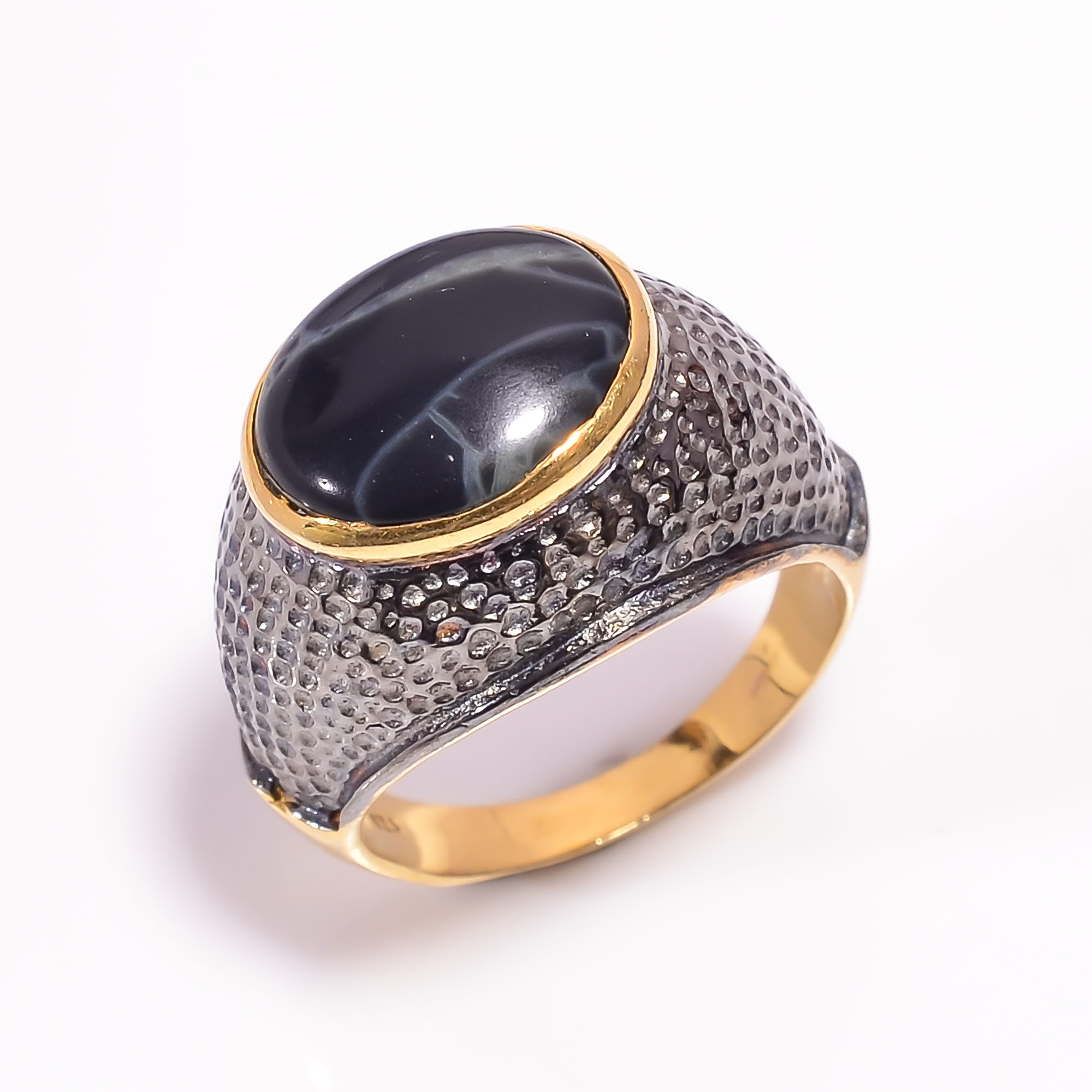 925 Sterling Silver Gold Plated & Black Rhodium Two Tone Spider Web Jasper Ring Size US 6.25