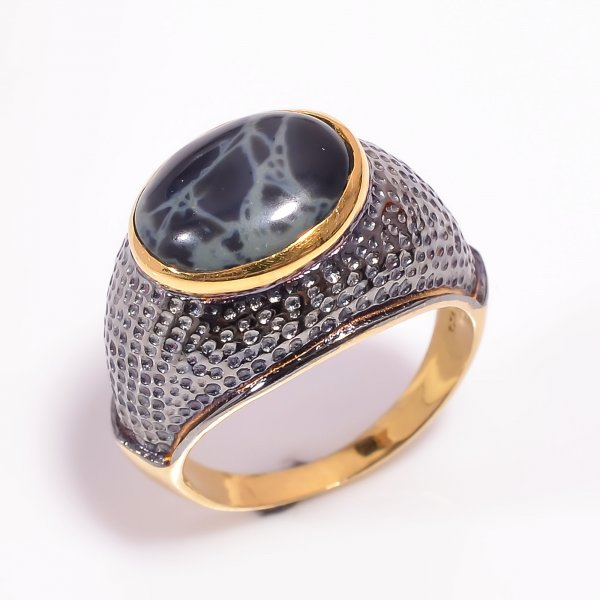 925 Sterling Silver Gold Plated & Black Rhodium Two Tone Spider Web Jasper Ring Size US 7