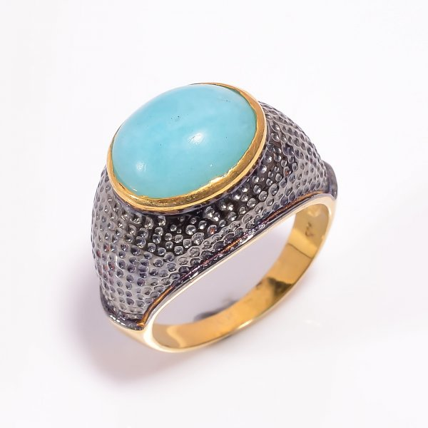 925 Sterling Silver Gold Plated & Black Rhodium Two Tone Amazonite Ring