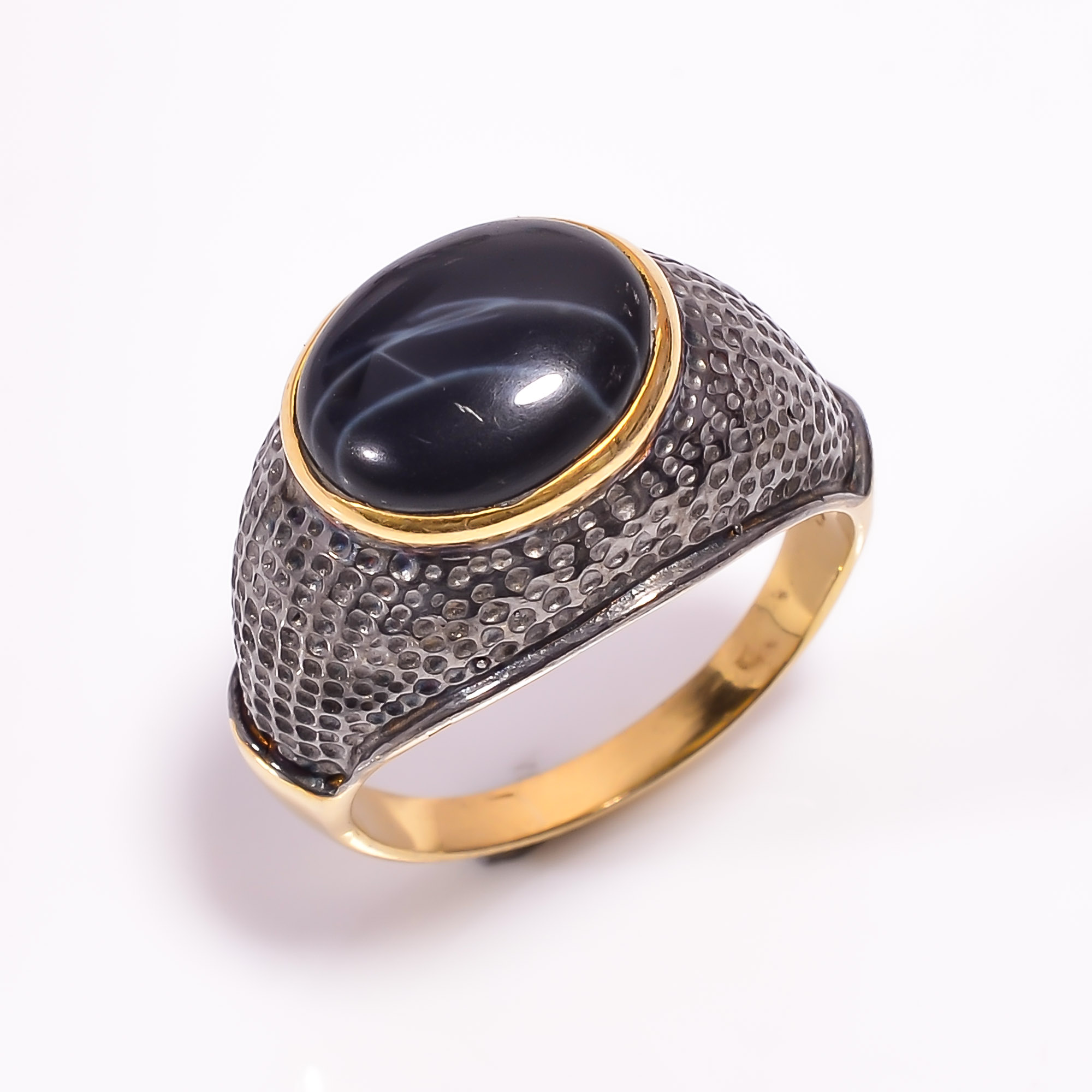 925 Sterling Silver Gold Plated & Black Rhodium Two Tone Spider Web Jasper Ring Size US 9.25