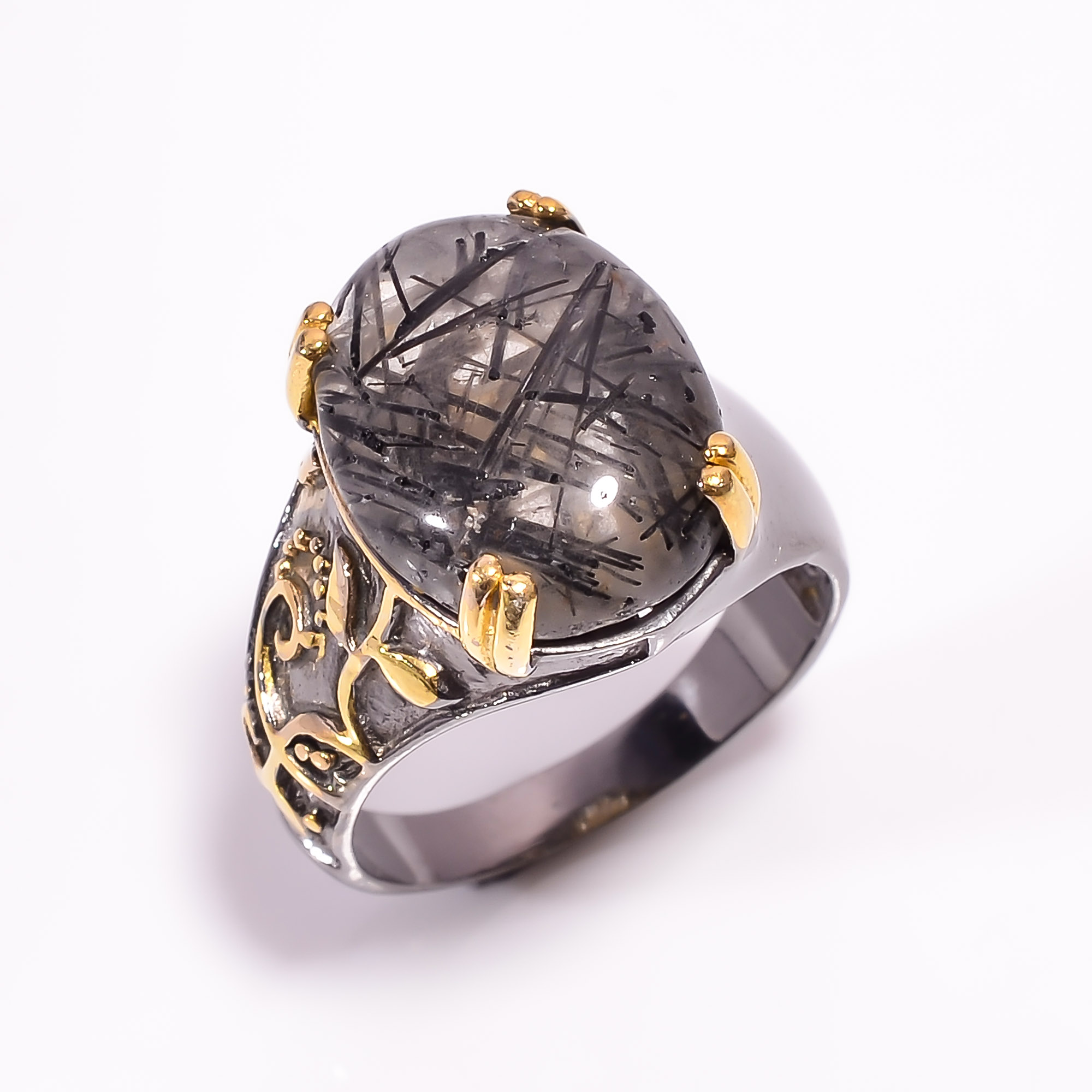925 Sterling Silver Gold Plated & Black Rhodium Two Tone Rutile Ring Size US 8.25