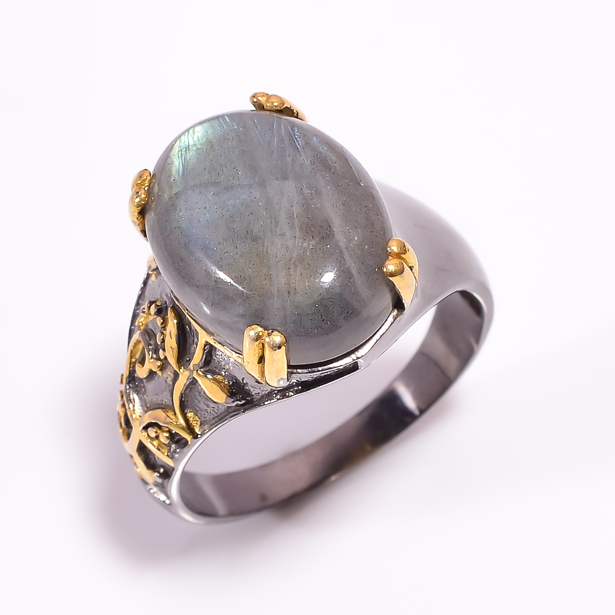 925 Sterling Silver Gold Plated & Black Rhodium Two Tone Labradorite Ring Size US 10.25