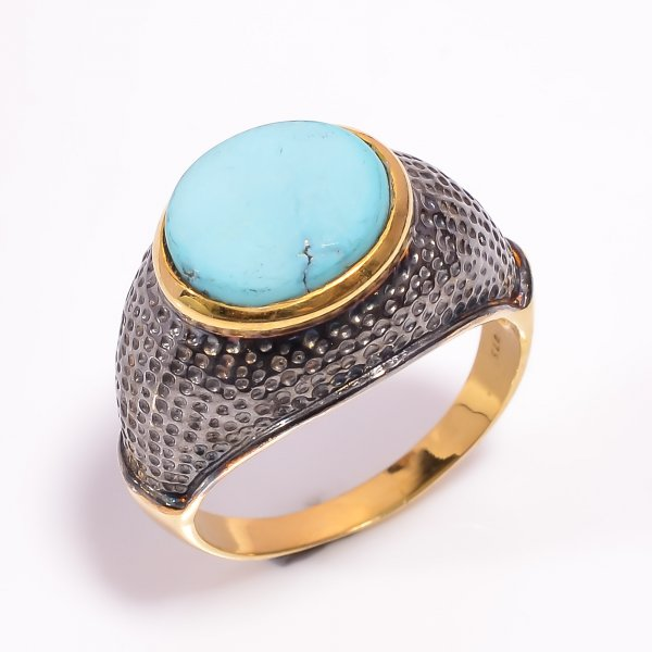 925 Sterling Silver Gold Plated & Black Rhodium Two Tone Turquoise Gemstone Ring
