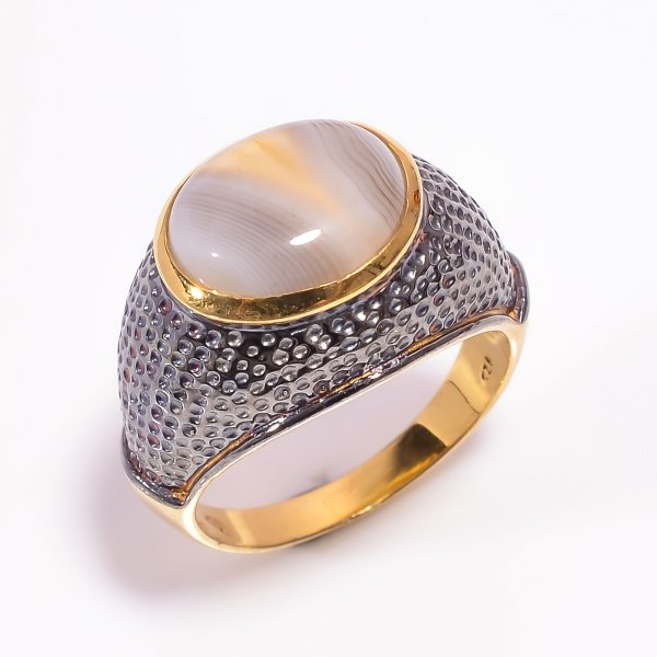 925 Sterling Silver Gold Plated & Black Rhodium Two Tone Botswana Agate Gemstone Ring Size US 8